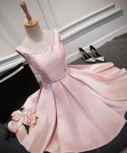 Load image into Gallery viewer, Pink Round Neck Satin Short Prom Dress, Pink Evening Dress