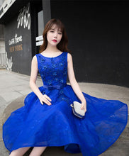 Load image into Gallery viewer, Royal Blue Lace A Line Short Prom Dress, Evening Dress