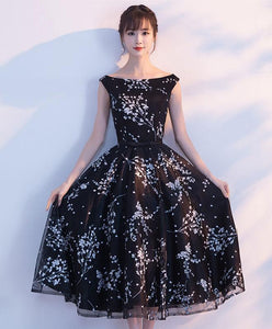 Simple Black Tulle Tea Length Prom Dress, Black Evening Dress