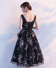 Load image into Gallery viewer, Simple Black Tulle Tea Length Prom Dress, Black Evening Dress
