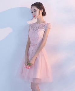 Pink A Line Tulle Lace Short Prom Dress, Homecoming Dress
