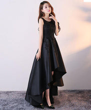 Load image into Gallery viewer, Black Round Neck Satin Lace High Low Prom Dress, Black Homecoming Dress