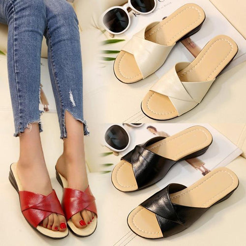 Women Peep Toe Slip-On Flat Slippers Plus Size