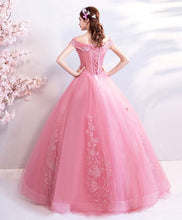 Load image into Gallery viewer, Pink Tulle Off Shoulder Lace Long Prom Dress, Pink Evening Dress