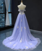 Load image into Gallery viewer, Purple Tulle Lace Long Prom Dress Purple Lace Formal Dress