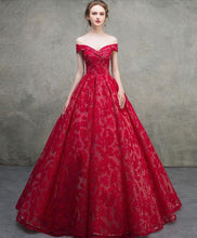 Load image into Gallery viewer, Red Off Shoulder Lace Long Prom Dress, Red Lace Long Evening Dress