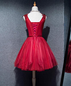 Simple V Neck Tulle Burgundy Homecoming Dress, Prom Dress