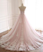 Load image into Gallery viewer, Pink Sweetheart Lace Tulle Long Prom Dress Lace Pink Evening Dress
