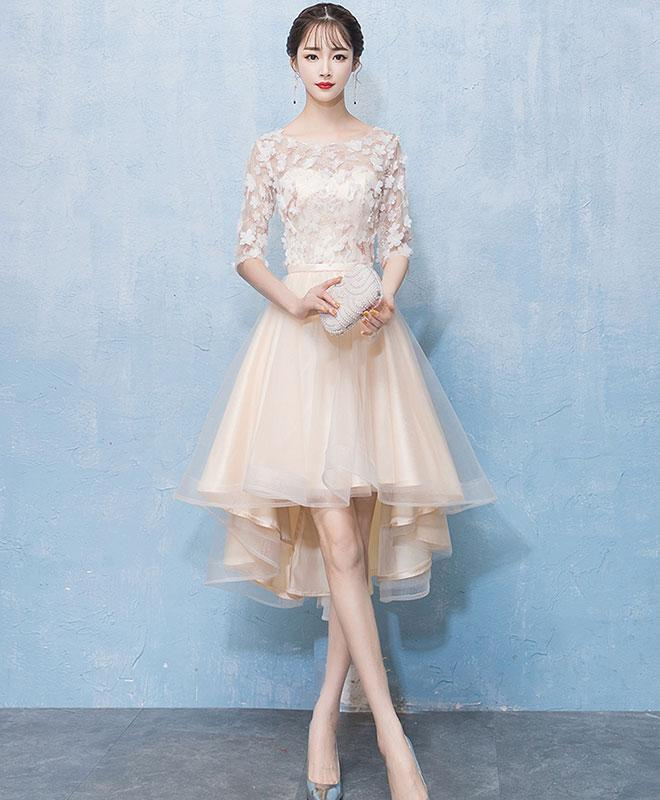 Light Champagne Tulle Lace High Low Prom Dress Lace Homecoming Dress
