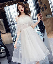 Load image into Gallery viewer, White Tulle Short Prom Dress, White Tulle Homecoming Dress