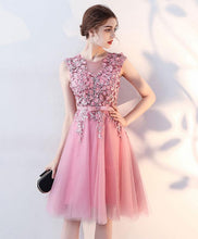 Load image into Gallery viewer, Pink Tulle Lace Short Prom Dress, Pink Tulle Homecoming Dress