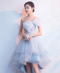 Gray Tulle High Low Prom Dress, Gray Homecoming Dress