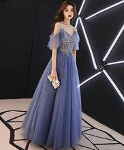 Load image into Gallery viewer, Blue V Neck Tulle Lace Long Prom Dress, Blue Tulle Evening Dress SP14763