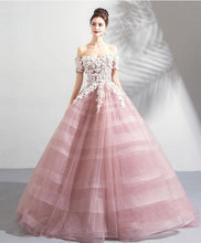 Load image into Gallery viewer, Pink Off Shoulder Lace Tulle Long Prom Dress, Pink Tulle Evening Dress
