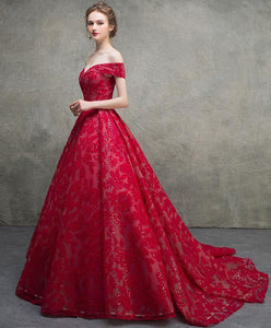 Red Off Shoulder Lace Long Prom Dress, Red Lace Long Evening Dress