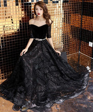 Load image into Gallery viewer, Unique Black Lace Long Prom Dress, Black Lace Evening Dress