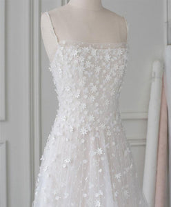White Tulle Lace Long Prom Dress White Lace Evening Dress