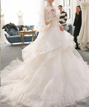 Load image into Gallery viewer, Light Champagne Tulle Long Wedding Dress, Champagne Bridal Dress