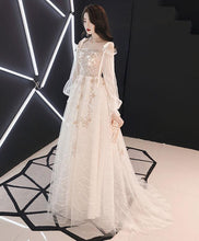 Load image into Gallery viewer, Unique Tulle Lace Long Prom Dress, Tulle Lace Evening Dress
