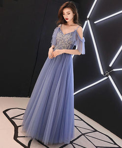 Blue V Neck Tulle Lace Long Prom Dress, Blue Tulle Evening Dress SP14763