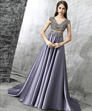 Load image into Gallery viewer, Unique V Neck Beads Long Prom Dress, Evening Dress