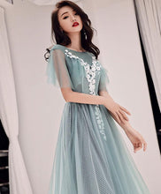 Load image into Gallery viewer, Green Round Neck Tulle Lace Long Prom Dress, Green Evening Dress