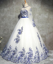 Load image into Gallery viewer, White Round Neck Tulle Lace Long Prom Dress, White Sweet 16 Dress