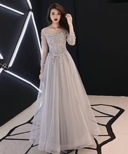 Load image into Gallery viewer, Gray Tulle Lace Long Prom Dress Gray Tulle Lace Evening Dress