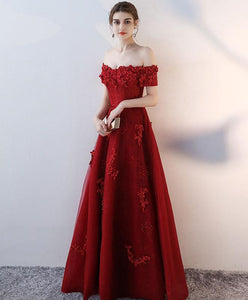 Red Tulle Off Shoulder Long Prom Dress, Tulle Evening Dress