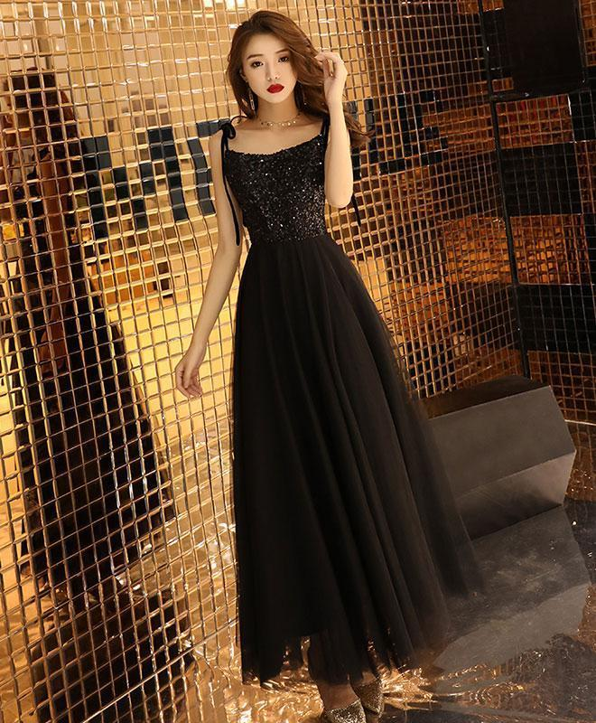 Black Sequin Tulle Long Prom Dress, Black Tulle Evening Dress