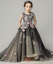 Load image into Gallery viewer, Black Tulle Lace Girl Dress, Birthday Dress