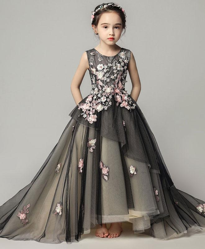 Black Tulle Lace Girl Dress, Birthday Dress