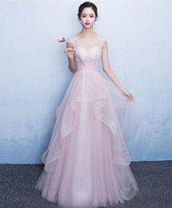 Pink Round Neck Tulle Long Prom Dress, Pink Evening Dress