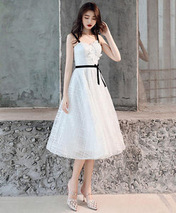 White Tulle Lace Short Prom Dress, White Tulle Homecoming Dress A001