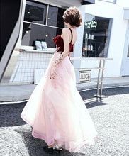 Load image into Gallery viewer, Pink Sweetheart Tulle Lace Long Prom Dress, Pink Evening Dress