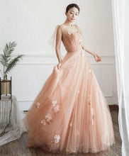 Load image into Gallery viewer, Pink Tulle Long Prom Dress, Pink Tulle Formal Dress