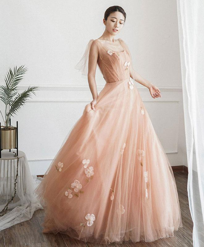 Pink Tulle Long Prom Dress, Pink Tulle Formal Dress