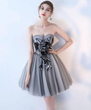 Load image into Gallery viewer, Simple Gray Tulle Short Prom Dress, Gray Homecoming Dress