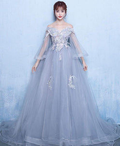 Gray Tulle Lace Long Prom Dress Gray Tulle Lace Evening Dress