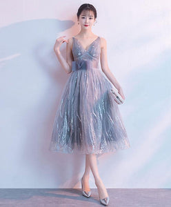Gray V Neck Tulle Lace Short Prom Dress, Gray Homecoming Dress