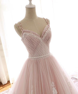 Pink Sweetheart Lace Tulle Long Prom Dress Lace Pink Evening Dress