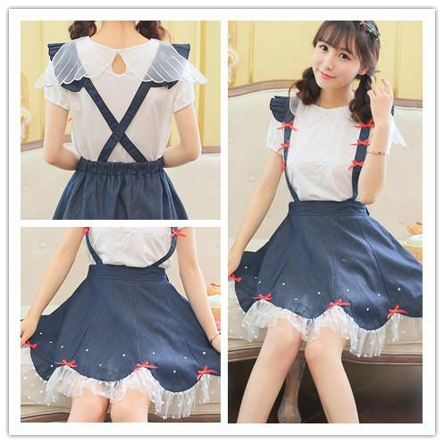 Navy Cute Bowknot Suspender Denim Skirt SP152920