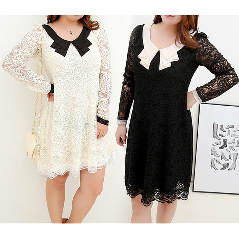 S-3XL White/Black Graceful Long-sleeved Lace Dress SP165602