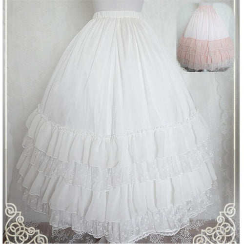 White/Black/Orange Pink Lolita Long Skirt Petticoat SP141087