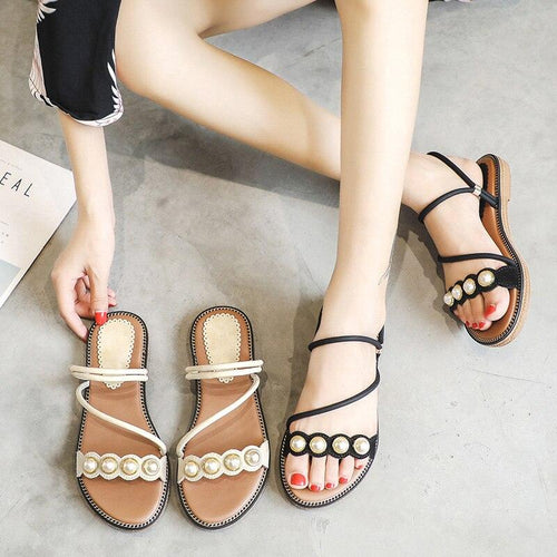 2019 Summer Shoes Women Sandals 2019 Elegant Ladies Holiday Shoes Casual Woman Sandals Flat Plus Size 41 A1461