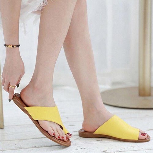2019 Summer Shoes Women Sandals Flip Flops Flat Casual Woman Beach Sandals Ladies Holiday Plus Size 42 Black Yellow Shoes A1458