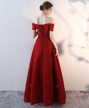Load image into Gallery viewer, Red Tulle Off Shoulder Long Prom Dress, Tulle Evening Dress