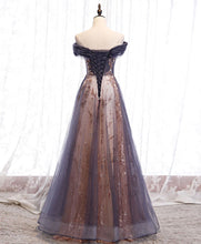 Load image into Gallery viewer, Unique tulle off shoulder lace long prom dress lace formal dress A031