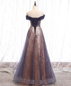 Unique tulle off shoulder lace long prom dress lace formal dress A031