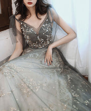 Load image into Gallery viewer, Gray V Neck Tulle Lace Sequin Long Prom Dress Gray Tulle Formal Dress
